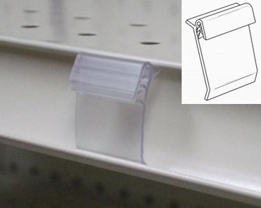 Clear shelf-channel sign clip (100/pk)