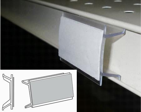 Clear shelf-channel sign clip with 2 sided tape