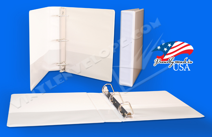 "White Clear Overlay 2"" Slant D Ring Binder"