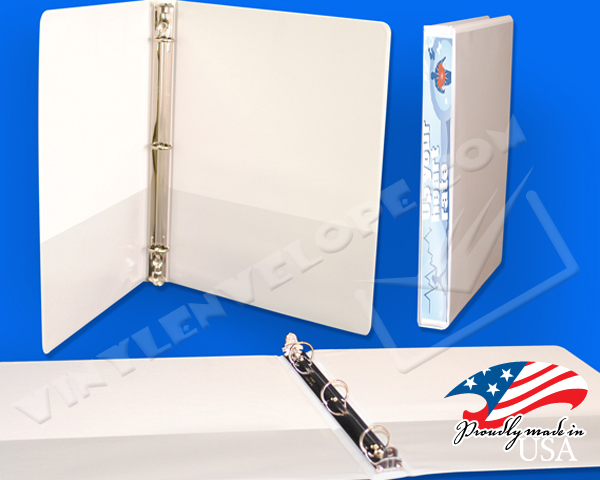 "White Clear Overlay 1/2"" Round Ring Binder"