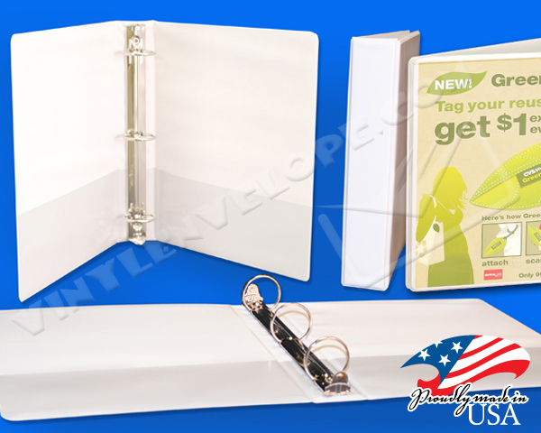 "White Clear Overlay 1 1/2"" Round Ring Binder"