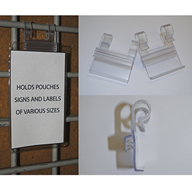 Clear 2-hook wire-basket sign holder mounting clip