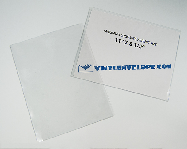 "11 1/2"" x 9"" clear vinyl sleeve open long"