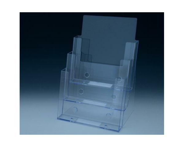 Clear 3-tier counter top brochure and magazine holder