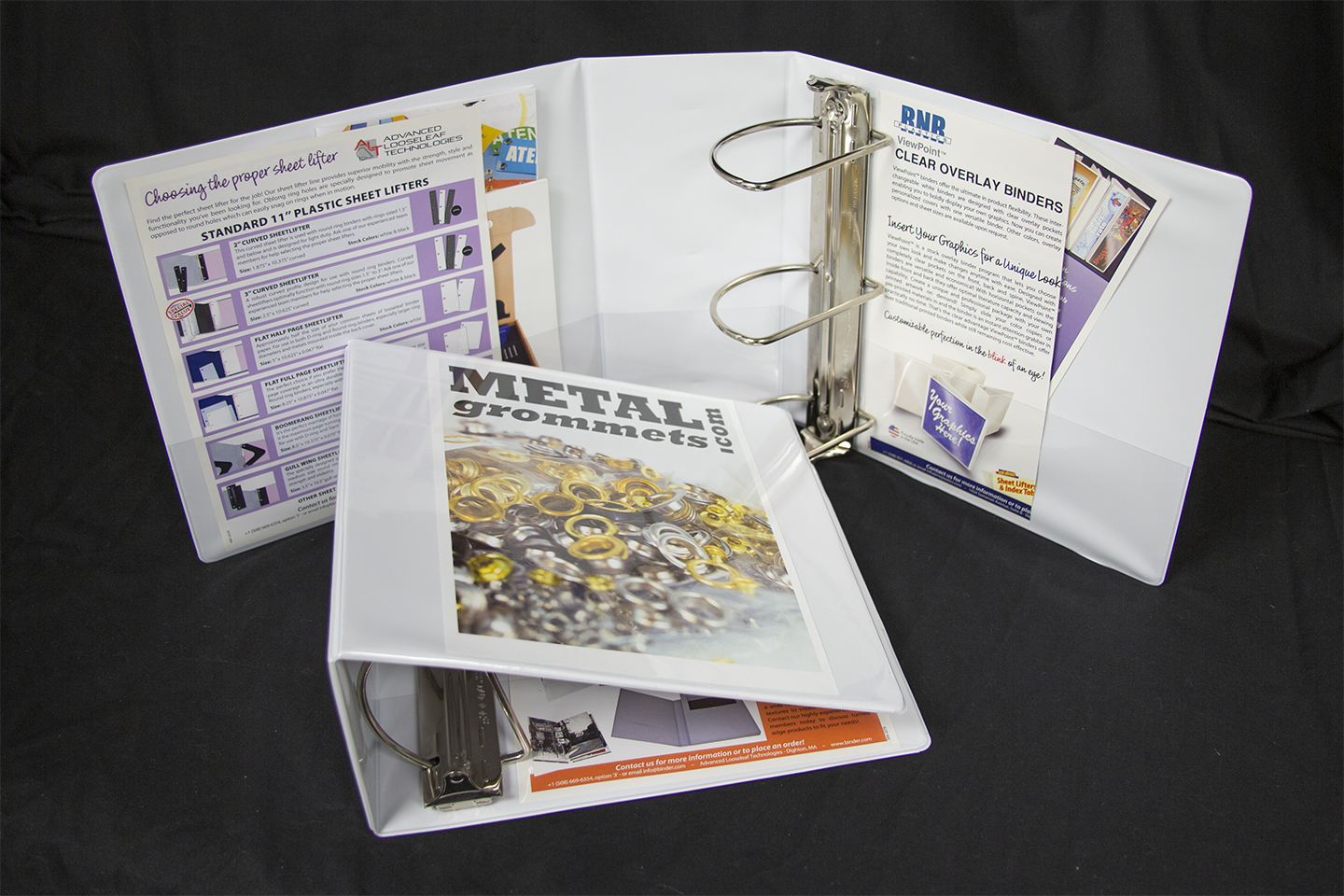 "White Clear Overlay 3"" Slant D Ring Binder"