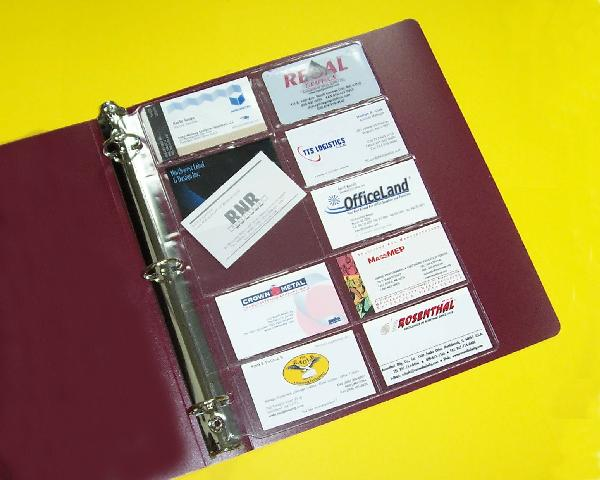 Business Card Page Clear Looseleaf Binder