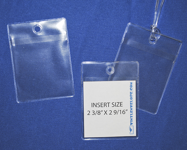 "2 5/8"" x 3 9/16"" clear pouch with hang hole"
