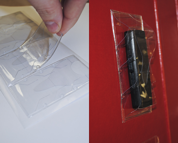 how to use sticky clear plastic to cover books
