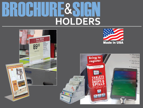 Clear acrylic plexiglas styrene tabletop and wall mount sign holders, brochure holders and literature holders