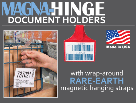 Magna-hinge™ document holders - tag holders and envelopes with rare-earth magnetic strap closure