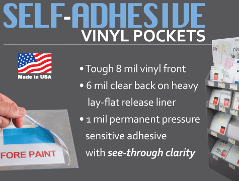 press-on vinyl envelopes pressure sensitive adhesive sticky back plastic pockets