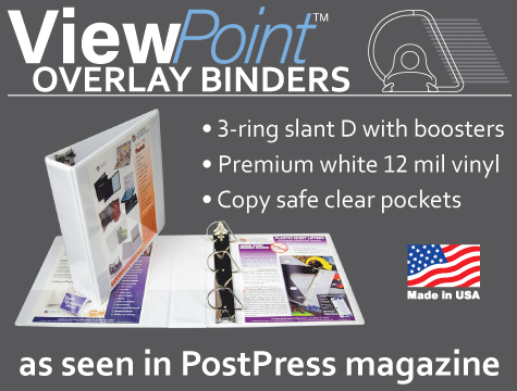 White vinyl slant D view binders with a clear copy safe overlay pocket front, spine and back